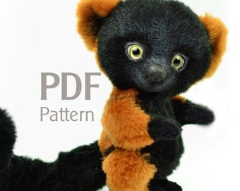 Pattern red ruffed lemur PDF 6.5 in, artist teddy pattern, lemur pattern, ePattern, sewing pattern, lemur pattern, stuffed teddy pattern