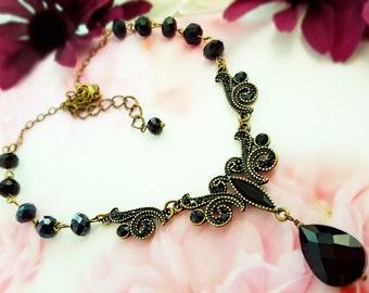 Black Crystal Necklace - Black Statement Necklace - Jet Black Renaissance Jewelry - Victorian Black Necklace - Teardrop Bib Necklace N4616