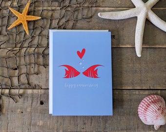 Anniversary Card / Angelfish Card / 1 Year Paper Anniversary Gift / Love Card