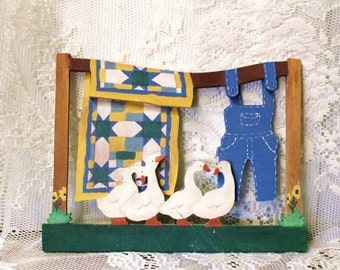 Laundry Day 3D Wooden Plaque-Country Quilt-Geese-Overalls on the Line to Dry-Country-Farm Chic Home Decorating-Orphaned Treasure-011717L