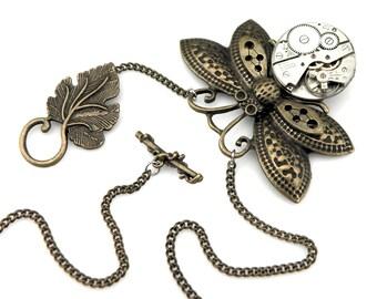 Clockwork Butterfly Necklace  -  Clockpunk Butterfly - Steampunk Butterfly Pendant - Rustic Steampunk - Insect Pendant