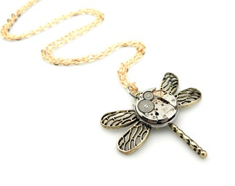 Bronze Dragonfly Pendant  -  Clockwork Dragonfly Necklace - Vintage Watch Insect Pendant