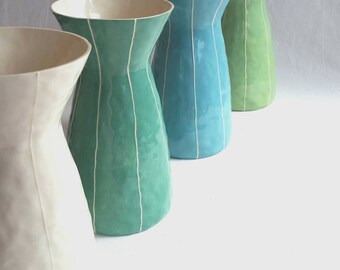 Tall ceramic vase. Wedding gift. Large vase. White vase. Blue vase. Green vase. Simple modern style pottery flower vase. Handmade by Kri Kri