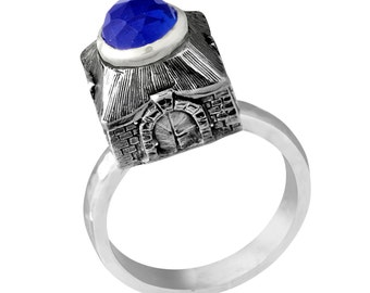 Sterling Silver Judaica Western Wall Jerusalem Gates Ring Round Blue Sapphire Handmade Jewelry