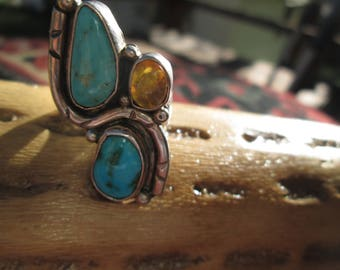 Turquoise, Amber and Sterling Silver Ring Size  7.5 - 8.25