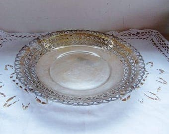 French Vintage Silver Plated Wire Basket ~ Silver Plated Fruit Bowl ~ silver plated Bread Basket