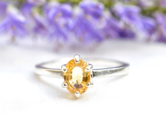 Natural Oval Cut 1.17ct Yellow Sapphire Ring in 925 Sterling Silver *Free Worldwide Shipping*