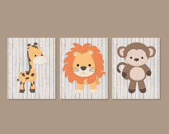 Baby Animal Nursery Art Safari Nursery Art Prints Jungle Animals Baby Boy Nursery Decor Animal Nursery Prints Set of 3 Prints Or Canvas