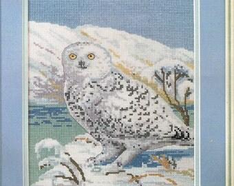 CROSS STITCH PATTERN - Snowy Owl Cross Stitch Pattern - Bird Cross Stitch Chart - White Owl Cross Stitch