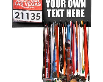 Custom Medal Bib Display, Holder, Hanger - YOUR OWN TEXT - 12 colors available!