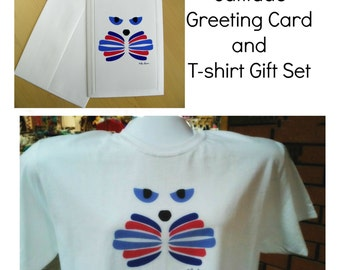 CAT LOVER Gift Set created for you by Pam Ponsart. It features a T-shirt AND coordinating Greeting Card in 4 Shirt Colors