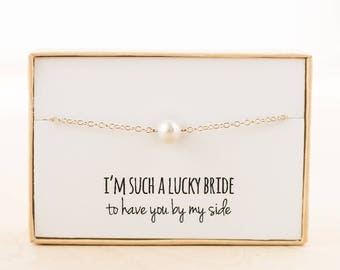 Bridesmaid Gift (Single Freshwater Pearl Gold Bracelet)