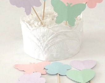 Pastel Cupcake Toppers, Hearts Butterflies & Flowers, Spring Wedding or Birthday Food Picks, Easter Table Decoration