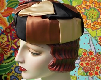 Vintage 60s Harlequin Pillbox Hat . Spicy Satin in Ecru Copper Cream Black .  Huge Bow Accent . Couture ? . Elegant Masterpiece Classic .