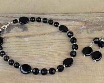 Black Faceted Beaded Necklace with Matching Earrings