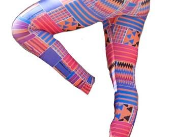 Digital Print Leggings / Patterned / Yoga Pants / Art / Printed / Graphic / Colorful / African / Tribal / Ankara / Wax Print / Kente