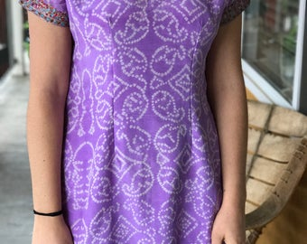 Purple batik embroidered dress/tunic