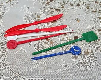 Vintage Airline Plastic Swizzle Stick Collection 6 Piece