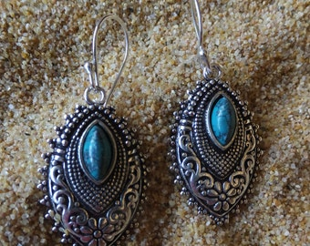 Turquoise and Sterling Silver Earrings.... 2 inches in length