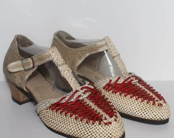 1940's Red and Cream Hessian Summer Shoes - UK 4