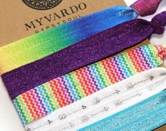 Rainbow Hair Tie Bracelets, Colorful Hair Accessories, Yoga Hair Ties, Boho Hair Accessories, Ponytail Holder, Mardi Gras, Hippie Hair, LGBT
