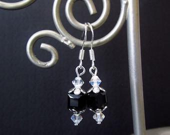 Swarovski Crystal Elements Earrings - Jet Black / Clear Cube Bead Earrings - Sterling Silver Beaded Dangle Earrings - Handmade Gifts for Her