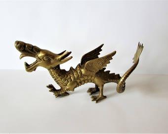 Unusual Rare Beautiful Large Antique/Vintage Brass Dragon /MEMsArtShop.
