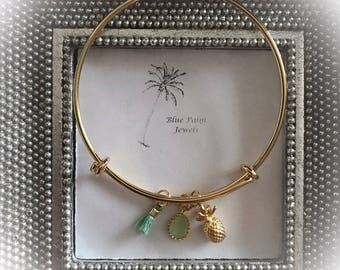 Handmade Gold Pineapple Charm Bangle