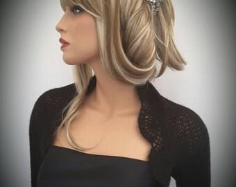Made to order. Hand knitted Wedding Bridal Kid Mohair Black colour Shrug Bolero, long sleeves. Wedding accessories
