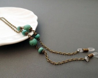 Antique Bronze Eyeglasses Chain - Turquoise Eyeglasses Chain - Glasses Chain - Eyeglasses Holder - Eyeglasses Leash - Lanyard
