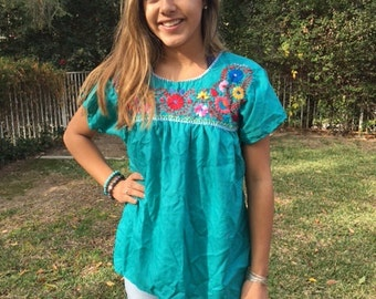 Embroidered blouse, Mexican blouse, medium,BoHo, blouse, top,Oaxaca,teal green