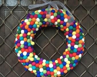Large Funfetti Felt Ball Wreath