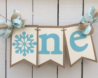 Winter Onederland High Chair Banner Snowflake High Chair Banner Boy or Girl First Birthday Idea Rustic Birthday Banner Winter Birthday Banne
