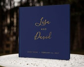 Navy and Gold Wedding Guest Book, Navy Wedding Guest Book, Gold Foil Guest Book, Instant Photo Guest Book, GB 131