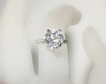 White Topaz Solitaire Ring, Sterling Silver, Bella Ring, Non Traditional, Cocktail, Prong, Rope Band, Made to Order