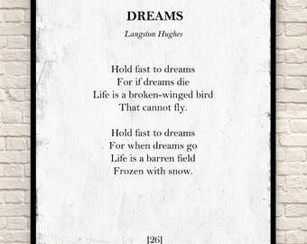 Dreams Poem, Langston Hughes Print, Langston Hughes Poem, Poem Art Print, Book Page Print, Classic Poetry Print, Wall Art, Christmas Gift