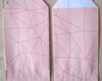 """Paper gift bags, 7x13 cm/ 2.8""""x5.1"""", set of 25, pink, graphic, LOVLY"""