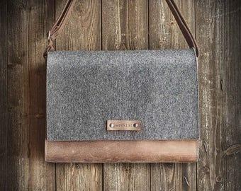 """Messenger Bag, felt """"dark gray mixed"""" leather """"brown"""", shoulder bag, tucker bag, Werksbote Max"""