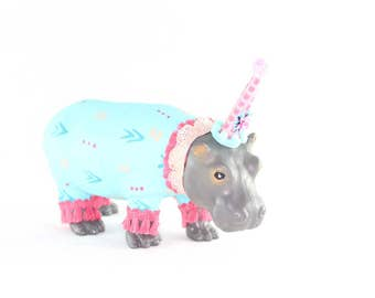 "Jumbo Party Animal  ""Sunny"" the Hippo painted carnival, circus, and birthday decor"