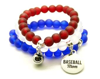 Baseball Mom Bracelet Baseball Mom Triple Stack Beaded Bracelets