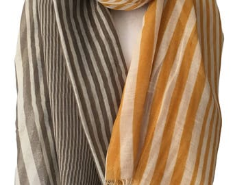 Yellow and Brown Striped Scarf, Ladies Mustard Taupe Stripy Shawl Wrap