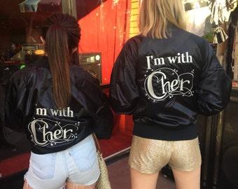 I'm with Cher - Black Satin Bomber Jacket