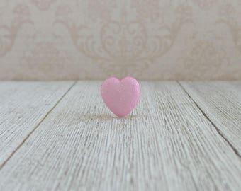Light Pink Glitter Heart - Tie Tack or Lapel Pin