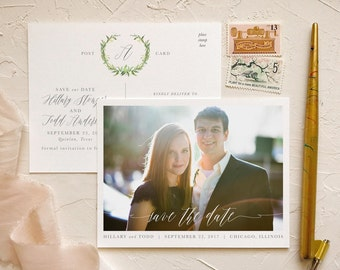 Greenery Wreath Save the Date Postcards for Woodland Weddings
