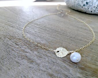 14k Gold Sand dollar Necklace Pearl Necklace Pearl Jewelry Sand dollar Jewelry Girls Jewelry Prom Beach Wedding Pearl Gift for her 14k gold