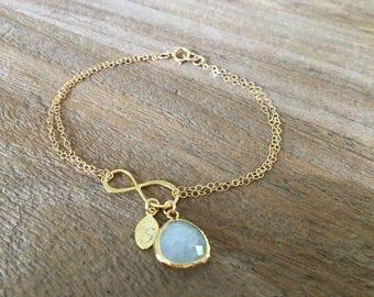 Infinity Bracelet Alice blue bracelet monogram Initial bracelet infinity jewelry Personalized initial monogram jewelry letter bracelet blue