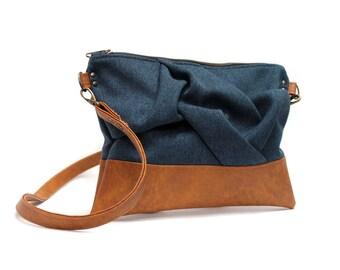 Blue Messenger Bag, Boho Cross Body Bag, Vegan Handbag, Small Messenger Purse, Navy Shoulder Bag, Fabric Crossbody Purse, Boho Sling Bag