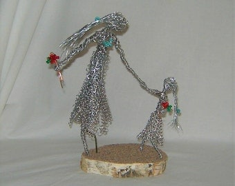 Mother Daughter Wire Sculpture - Family Wire Sculpture - Mom Daughter Picking Flowers, Silver Tone Sculpture, Sand Covered White Birch Stand