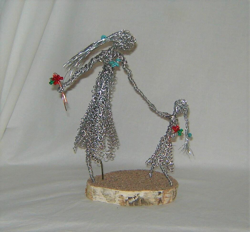 Mutter-Tochter-Draht Skulptur Familie Draht Skulptur