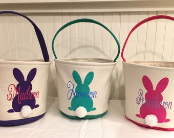 Absolutely adorable personalized canvas Easter baskets/tote,  Easter Bunny totes-3 color options